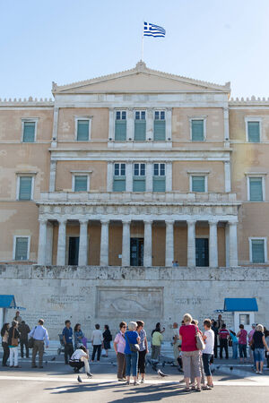 Tourists at the Greek Parliament