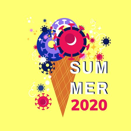 Concept of summer 2020 during the pandemic of covid-19. Stock vector illustration of a ice cream with coronavirus symbol for season banner, label, poster, logo summer. Coronavirus and summer.