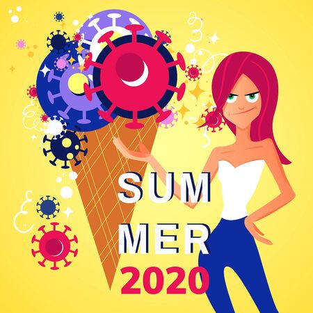 Concept of summer 2020 during the pandemic of covid-19. Stock vector illustration of a ice cream with coronavirus and girl with a disappointed face for season banner, label, poster, logo summer.