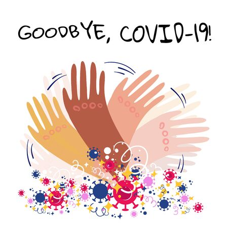 Stock vector illustration of hands with different skin colors waving goodbye to the passing coronavirus pandemic. Joy and happiness from the end of Covid-19 epidemic, quarantine and lockdown.