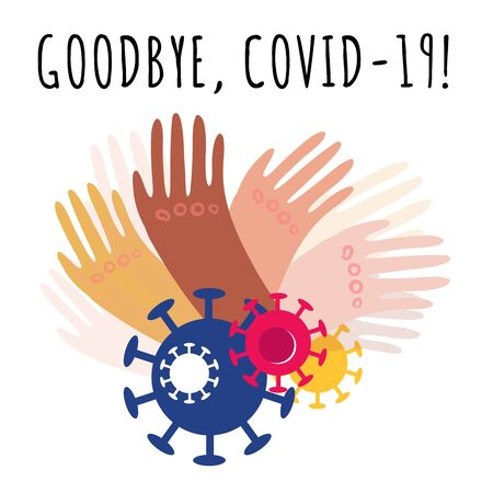 Stock vector illustration of hands with different skin colors waving goodbye to the passing coronavirus pandemic on white background. Joy and happiness from the end of quarantine and the Covid-19.
