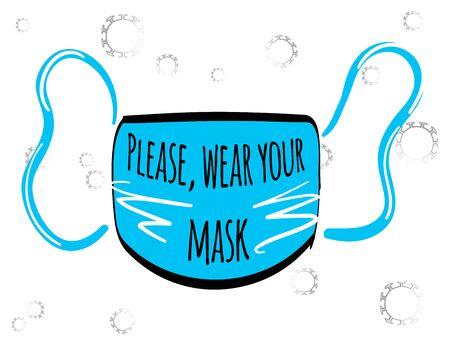 Illustration vectorielle stock du masque médical facial pour la grippe pour la protection contre le coronavirus pendant une pandémie covid-19. Veuillez porter votre masque. Protection contre la grippe, le coronavirus, la pollution de l'air, la poussière. Vecteurs