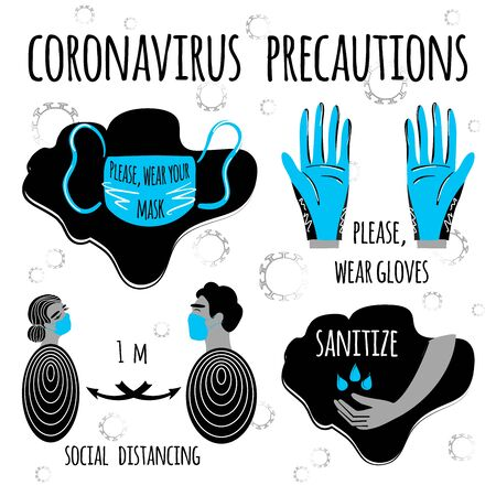 Coronavirus precaution tips. Stock vector art illustration set of corona virus COVID-19. Safety measures and precautions warning signs. Protect yourself and others. Warning, dangerous infection.