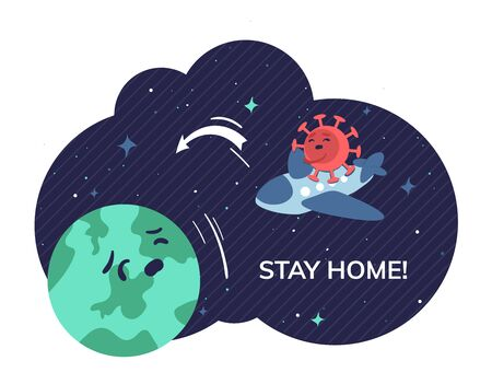 Stay home banner template depicts the danger of contracting the virus Covid-19 when flying between countries. The need for quarantine or self-isolation to preserve life and health.