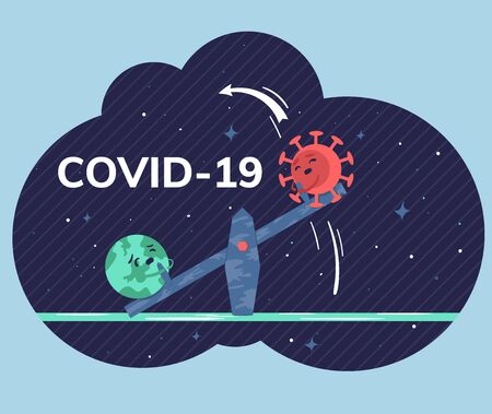 Trendy flat vector illustration depicts competition between planet Earth and Covid-19, which are compared on a balance seesaw with the starry sky background. Global viral epidemic or pandemic.