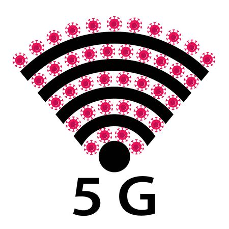 Vector Icon design of coronavirus 5g zone concept on white background. Conspiracy theorists attacked 5G cell towers to save from coronavirus. Virus and Internet. Wifi Signals and Covid-19 conspiracy.