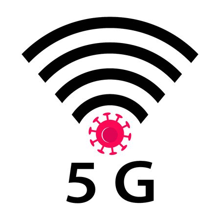 Wifi Signals and Covid-19 conspiracy. Vector Icon design of coronavirus 5g zone concept on white background. Conspiracy theorists attacked 5G cell towers to save from coronavirus. Virus and Internet.