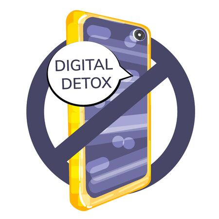 Stock vector illustration of digital detox concept. The smartphone is crossed out with a prohibition sign. Emotional and psychological health. Stop dependence on digital information channels.