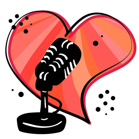 Podcast radio icon design. Hand drawing black microphone with cartoon red heart.
