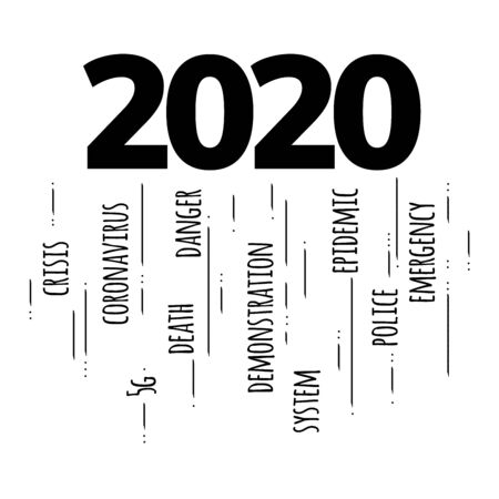 2020 leap year concept as one of the worst years in recent years. Coronavirus, unemployment, financial crisis, danger, death, strikes, demonstrations, emergency, 5g. Stop it please, 2020. Stock vector