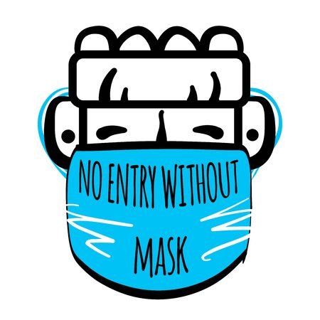 No entry without face mask. Stock vector illustration of human character in medical mask. Passage only in mask, without mask entry is prohibited. Advertisement for protection, prevention coronavirus