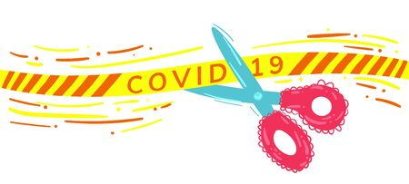 Stock vector illustration of ending quarantine concept. Banner for end of coronavirus lockdown. Pandemic is over. Scissors cut a yellow cordon tape with text covid-19. Protective measures completed. Stock fotó - 150536216