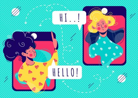 Girls talk to each other on smartphone screens. Working from home, social distancing, business discussion, quarantine concept. Video call with your family, colleagues, friends online during COVID-19. Ilustrace