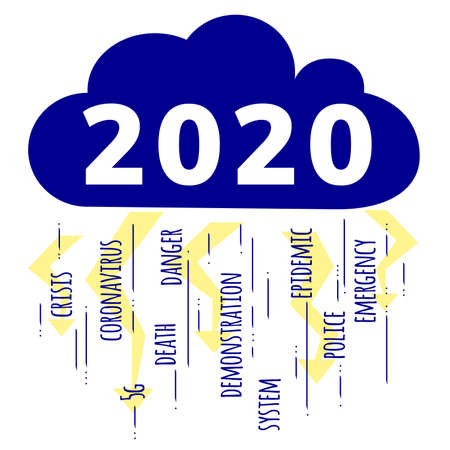 2020 leap year concept as one of the worst years. Coronavirus, unemployment, financial crisis, danger, death, strikes, demonstrations, emergency, 5g. Cloud and lightning. Stock vector illustration. Illustration