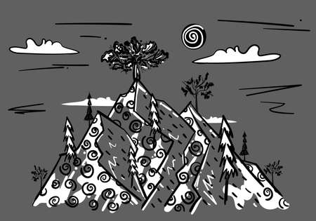 Line art landscape with mountains and trees with texture. Black sketch on gray background. Hand drawn design for outdoor adventure expedition, shirt pattern, print stamp. Stock vector illustration.