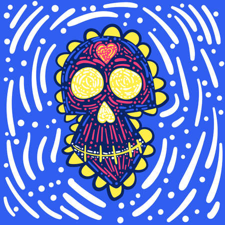 Day of the dead. Dia de los muertos. Mexican carnival concept with sugar festive skull. Fiesta, holiday poster, greeting card in doodle style. Stock vector illustration isolated on blue background.