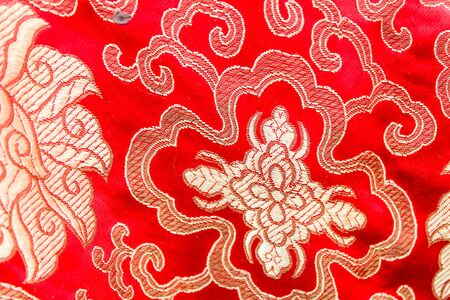 Chinese Silk Cloth in Red and Golden 스톡 콘텐츠