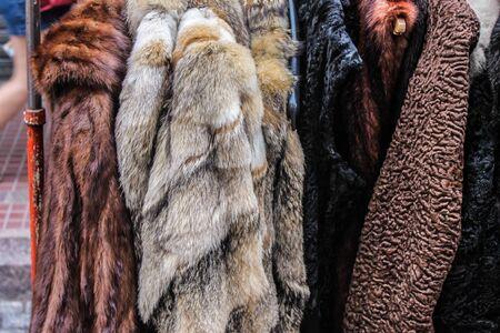 Leather Fur Coat Archivio Fotografico - 131833832