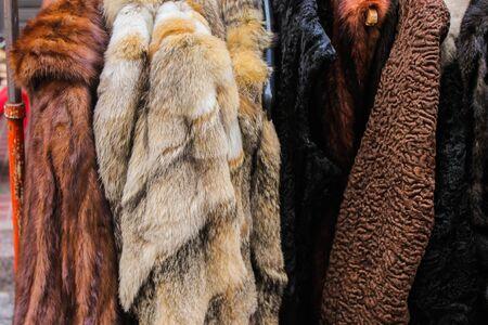Leather Fur Coat Archivio Fotografico - 131833884