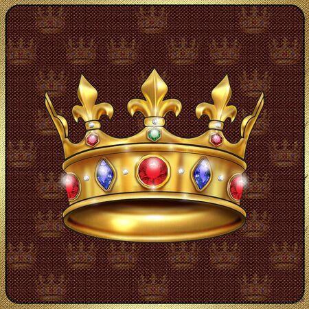 coronal: Gold royal crown on vintage textile background. Digital illustration Stock Photo