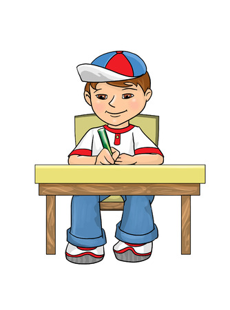writing chair: Boy sitting at the table, wrote in pencil in a notebook and smiling, digital illustration