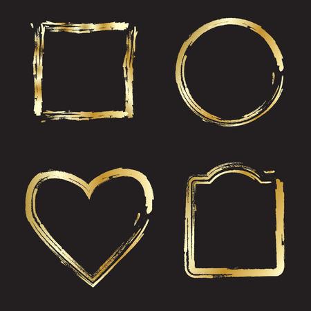 gold heart: Gold frames, borders, set. Gold Heart, Circle Frames set.