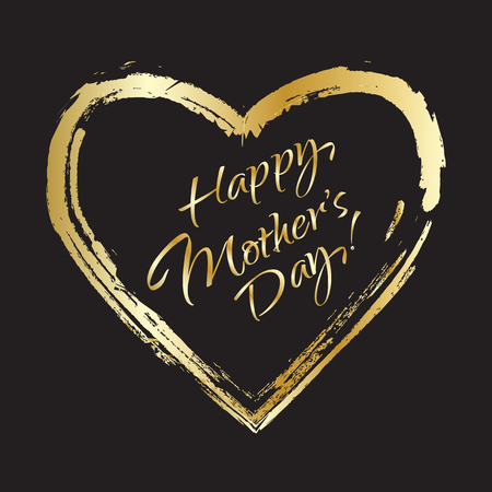 Happy Mothers Day card. Gold letters in gold heart frame on black background. Calligraphy abstract background. Digital illustration. For Art, Print, Web, Fashion design.