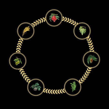 dates fruit: Barley, wheat, figs, Grapes, date palm fruit, olives, pomegranate, Seven spices, symbols on black background. Holiday fruits frame. Illustration Shavuot Jewish Holiday.