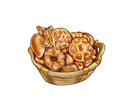 pain de fantaisie, des petits pains dans un panier. Isolé sur fond blanc. Illustration. Pour Art, Print, Web design