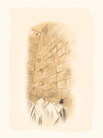 pilgrimage: Western wall Jerusalem, prayer. Davids city - old city of Jerusalem. Israel. Landscape. Watercolor Illustration. Hand Drawn. Stock Photo