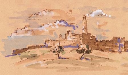ダビデの塔 - 古い都市のエルサレム ビュー。イスラエル。風景イラスト