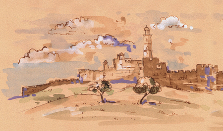 rabbi: Davids tower - old city of Jerusalem view. Israel. Landscape Illustration
