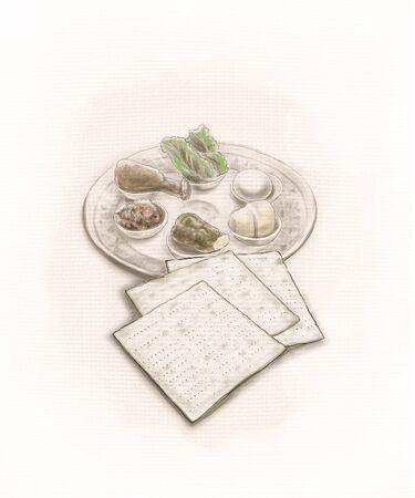 matzot: Passover plate and Matzot bread for Jewish Passover celebration. Illustration. Hand Drawn. Jewish tradition.