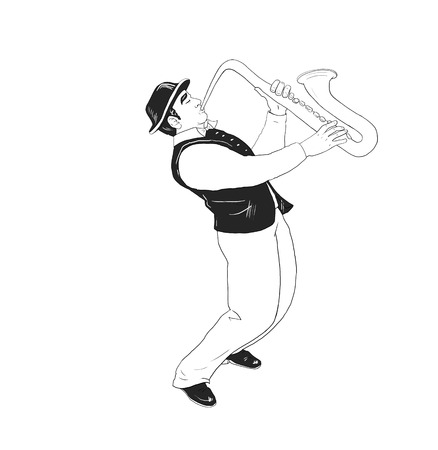 saxophonist: The saxophonist Isolated on white background. Musician, saxophonist plays the saxophone music. Digital illustration. For holiday Art, print, web - graphic design.