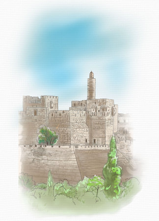 israel jerusalem: Davids tower - old city of Jerusalem view, Israel Landscape. Digital Illustration