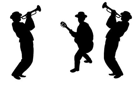Musiciens Jazz Trio isolé sur fond blanc. Silhouettes illustration