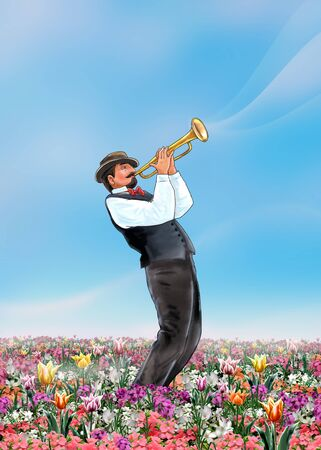 acoustical: Trumpeter Spring abstract music scene. Musician plays the trumpet on beautiful Spring landscape with sky and flowers. Poster, Illustration