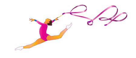 Young gymnast woman with ribbon jumping, doing split leap in the air, isolated on white. Gymnastic element, athletic, sport. Illustration. Rhythmic gymnastics, Summer games. Junior. Rhythmic Gymnastic.