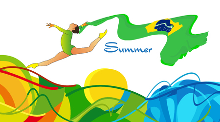 Summer 2016 Brazil. Young gymnast woman in green sportswear dress with Brazilian flag, doing art gymnastics element split leap in the air. Isolated on white. Abstract Illustration. Hand Drawn. Brazil Sport. Brazil flag. Summer Games.
