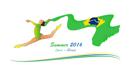 summer game: Brazil Summer 2016. Young gymnast woman in green sportswear dress with Brazilian flag, doing art gymnastics element split leap in the air. Isolated on white. Abstract Illustration Hand Drawn. Brazil Sport. Brazil flag. Summer game. Illustration