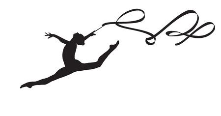 Giovane donna ginnasta con la sagoma del nastro, l'esecuzione ritmica elemento ginnastica, saltando facendo salto diviso in aria, isolato su sfondo bianco Illustrazione. Junior gruppo nazionale ginnastica 2016
