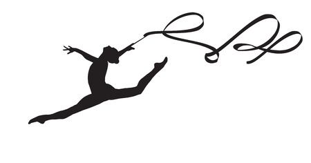 rhythmic gymnastic: Young gymnast woman with ribbon silhouette, performing rhythmic gymnastics element, jumping doing split leap in the air, isolated on white background Illustration. Junior national group Gymnastic 2016