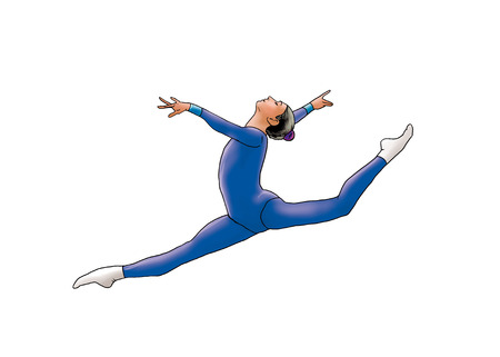 leotard: Young gymnast woman in blue sportswear dress, performing art gymnastics element, jumping, doing split leap in the air, isolated on white. Hand Drawn Illustration. Modern Dance. Sport athletics.