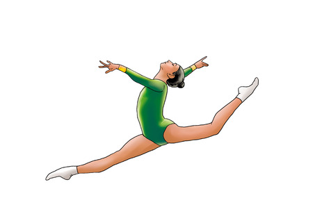leotard: Beautiful young gymnast woman in green sportswear dress, performing art gymnastics element, jumping, doing split leap in the air, dancing, isolated on white background. Hand Drawn Illustration. Rhythmic Gymnastic. Modern Dance. Sport
