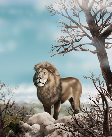 watchful: Lion. African lion, Safari. Lion in a wild nature. Vintage style. Hand Drawn. Retro Realistic Illustration