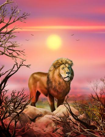 León. Puesta del sol africana. León en una naturaleza salvaje. paisaje Safari con un león africano, cielo, sol, montañas, campo de césped, árboles, África. Dibujado a mano. estilo realista. Ilustración Foto de archivo