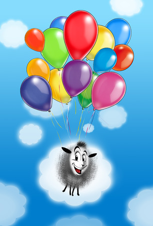 Holiday card. Just fancy color balloons flying to light blue sky with white clouds and cute sheep. Festive colorful background for holiday art, Print, Album, Post card, Web design.