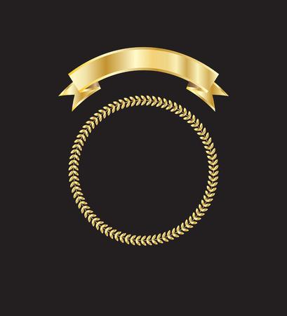 golden ribbon: Gold frame and ribbon. Gold ribbon and golden leaves frame.