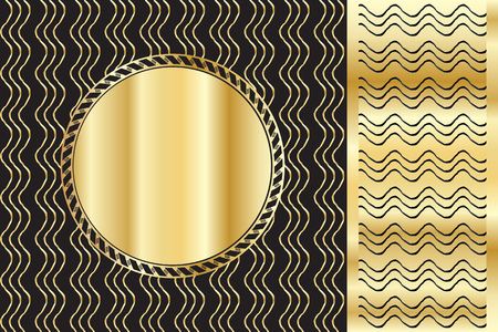 A luxury vintage greeting card background. Black background with beautiful wavy ornaments and gold round frame for text. Illustration