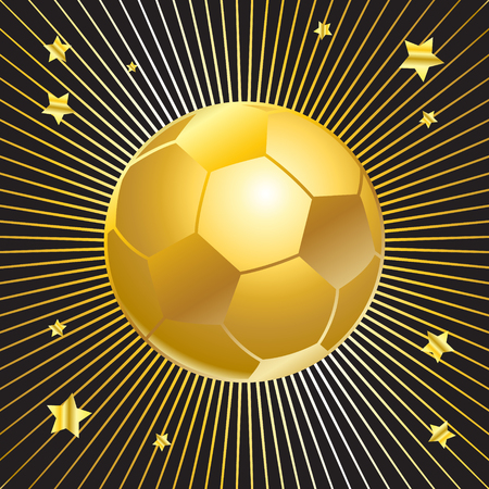 Ball, Soccer ball. Football ball. Soccer ball winner. Gold soccer ball, Football wallpaper. Gold soccer ball and stars light rays on black background. Football background with light rays. Illustration